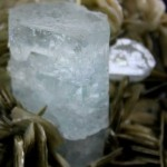 Aquamarine on Muscovite.